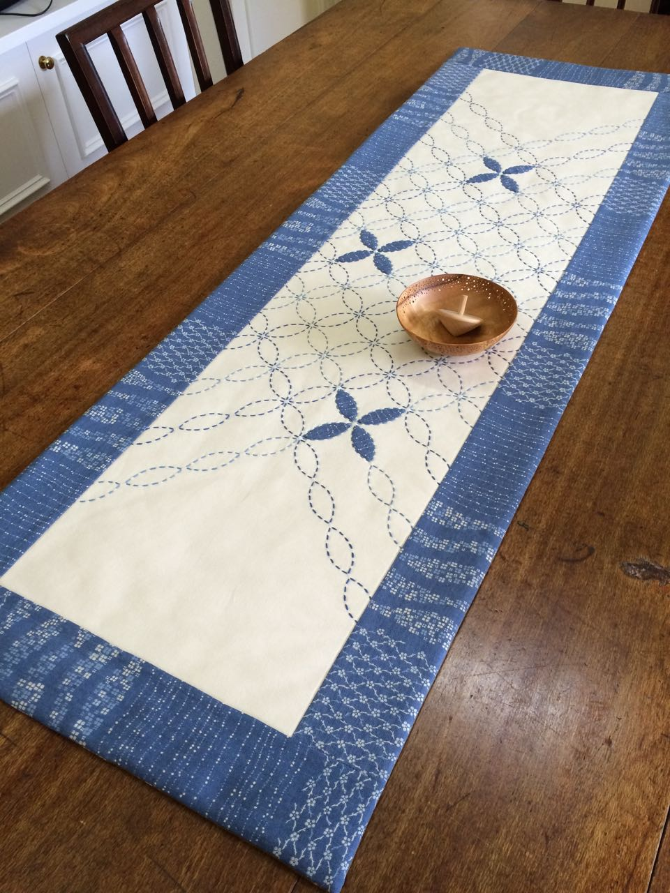 New Sashiko Table Runner Bordered With Takumi Fabric